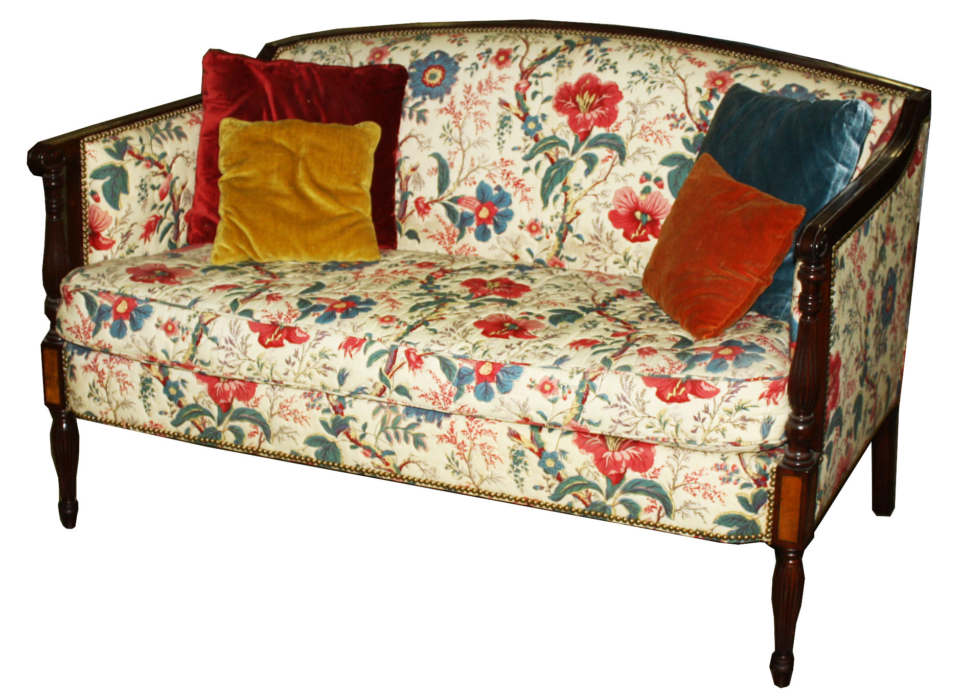 Superior Paine Furniture Co. Sheraton Settee In Chintz Upholstery.JPG