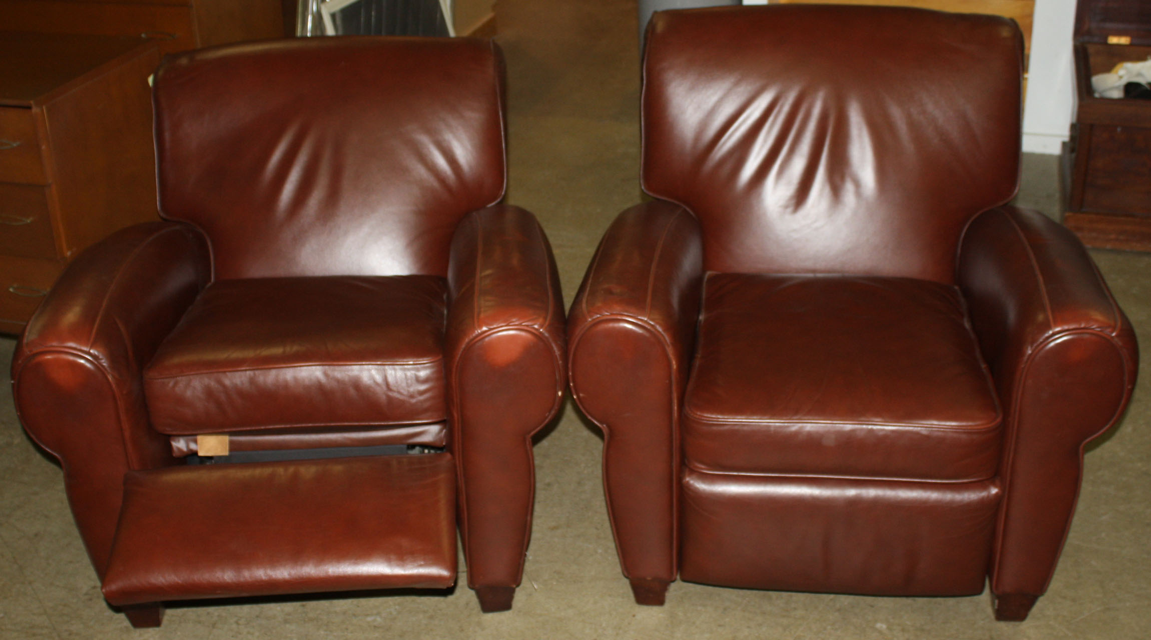 Pair Of Barcalounger Leather Club Chairs.JPG