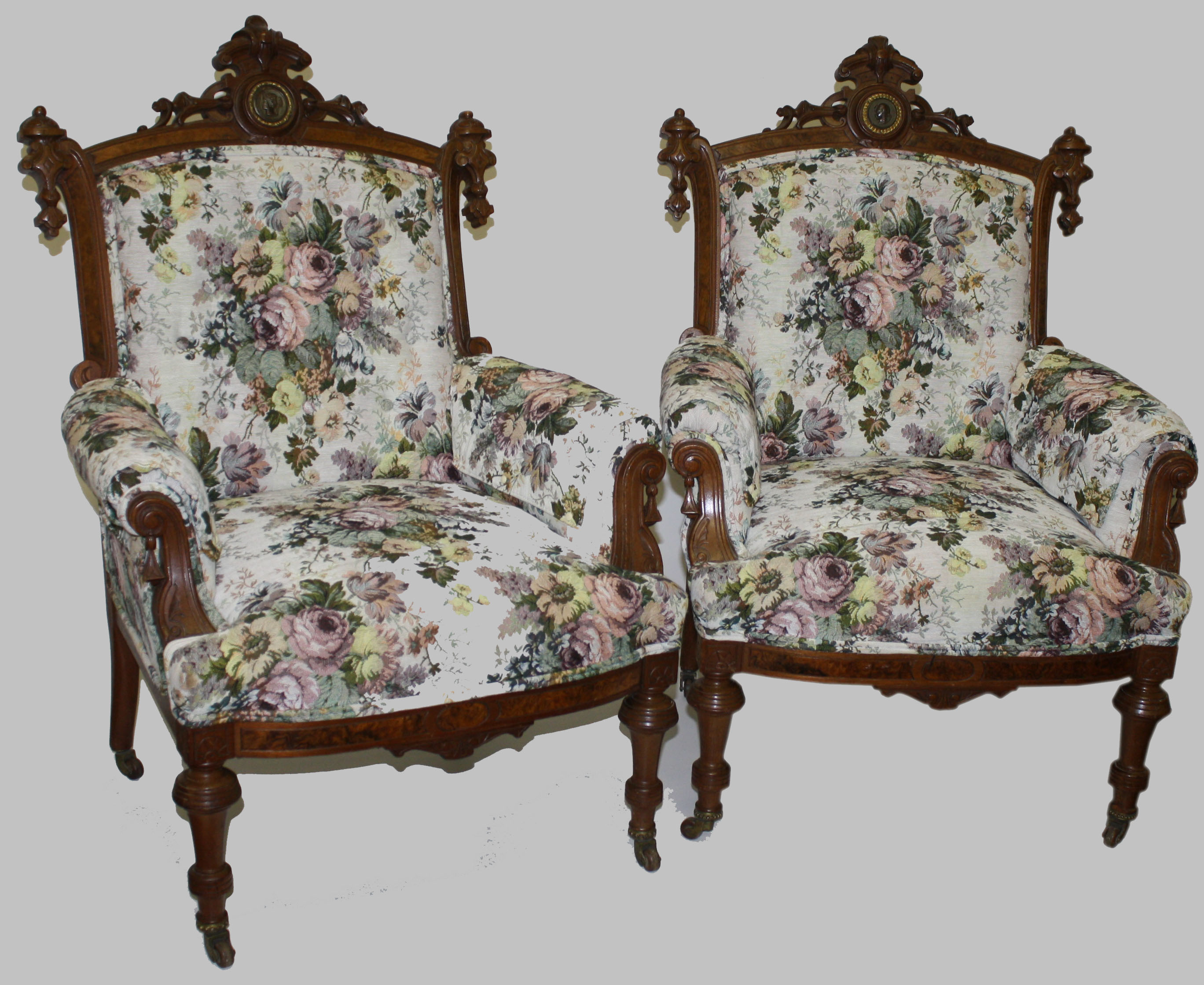 Pair Of Victorian Egyptian Revival Arm Chairs.JPG