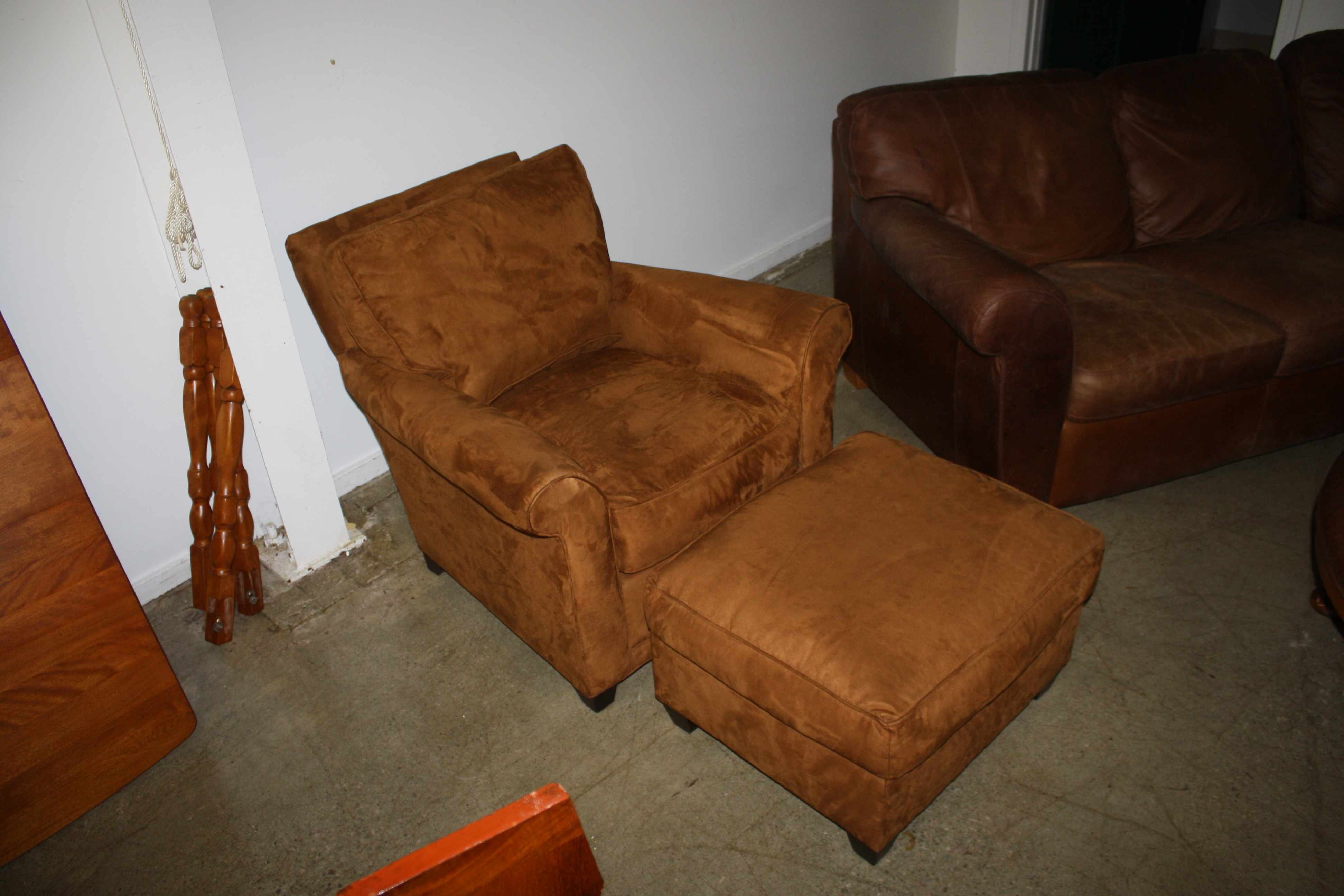 Rowe Furniture Suede Down Filled Club Chair With Ottoman.JPG
